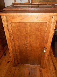 Antique Keen-Kutter ? Hanging Wall Tool Spice Cabinet in Tiger Oak