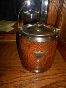 Edwardian English Biscuit Barrel/EPNS and Tiger Oak