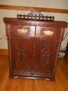 Victorian Eastlake Walnut Sewing Machine Cabinet or Nightstand