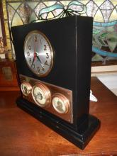 Sessions Art Deco/Machine Age Table Desk Alarm Clock w/ Weather Instruments - Works