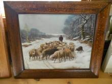Mission Arts & Crafts Picture Portrait Frame in Tiger Oak Sheep