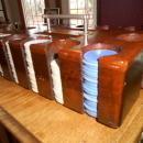 Bakelite Poker Chips in Tiger Oak Caddy