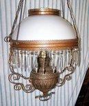 Brass Victorian/Eastlake Chandelier with Prisms, c. 1880-1900,