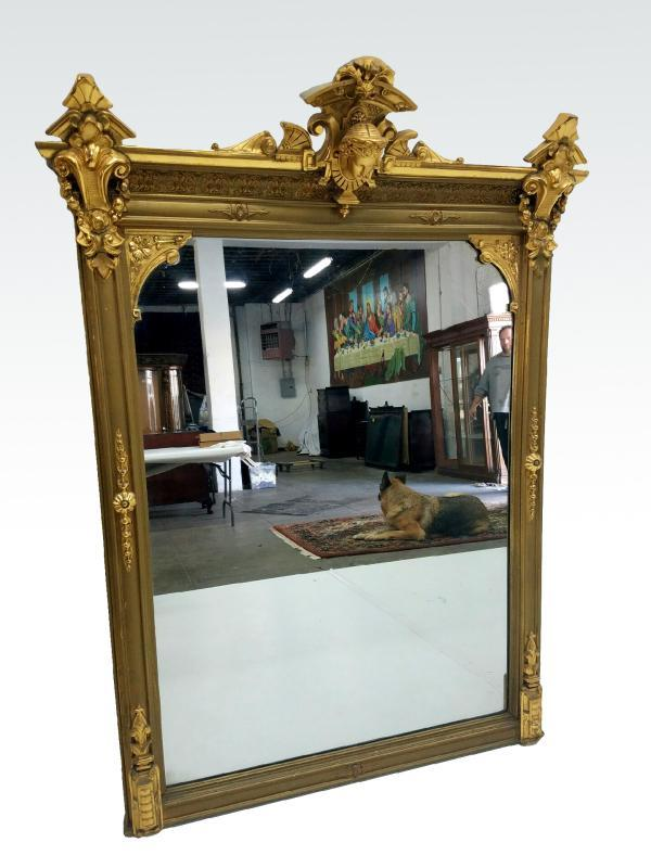19534 Exceptional Victorian Multi-Gold Mantle Mirror w/ Jenny Lind