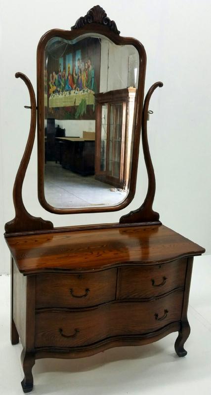 19533 Oak Ladies Princess Dresser with Tall Bevel Glass Mirror