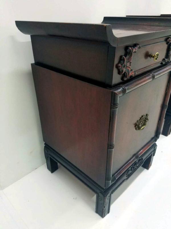 19531 Pair of Mahogany Oriental Nightstands / Night tables