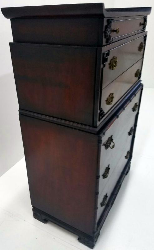 19530 Flame Mahogany Carved Tall Chest