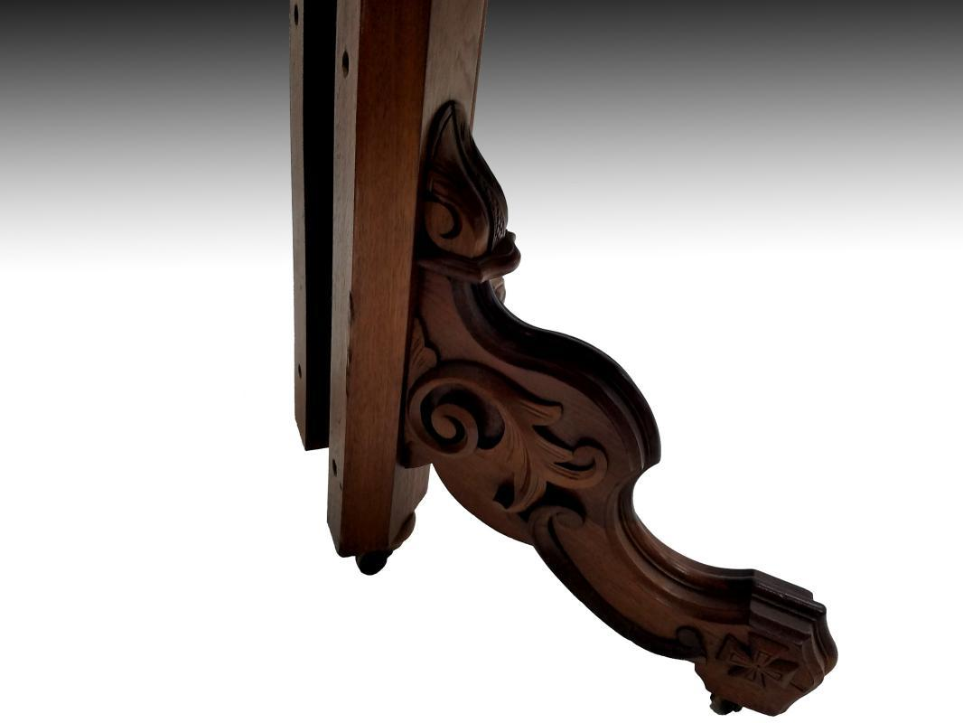 19527 Victorian Carved Walnut Dining Table – 4 Leaves