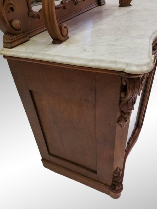 19521A Antique Victorian Carved Marble Top Sideboard - Civil War Era