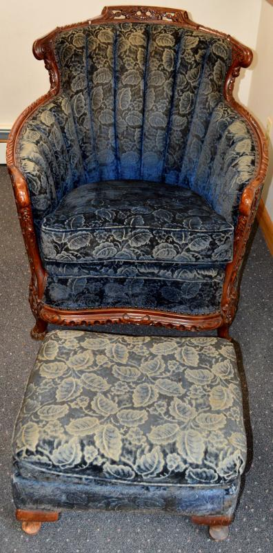 18229 French Carved Chair and Ottoman