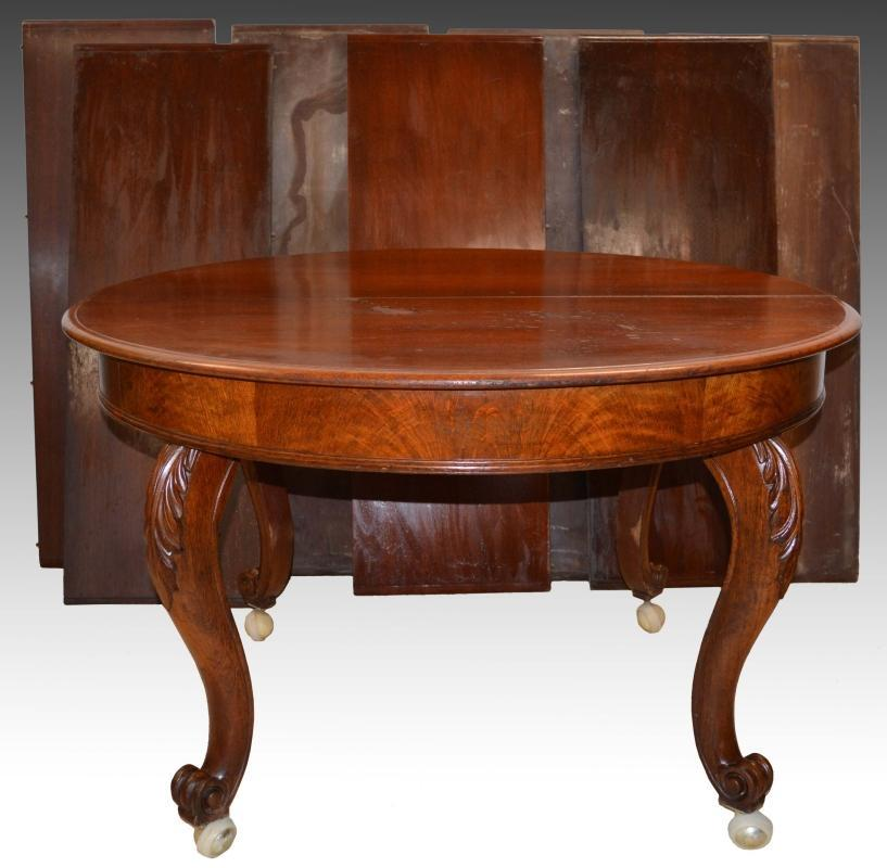 18227 Round Burl Walnut Banquet Table with 7 Leaves Open 13 Feet!