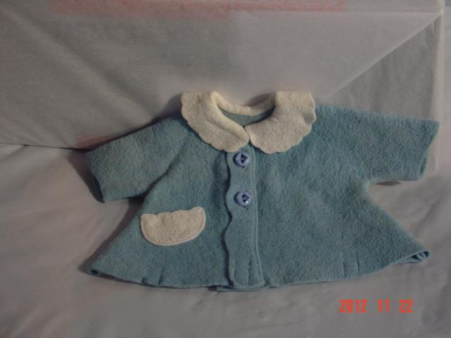 Tiny Tears Blue Felt Coat, original, VG