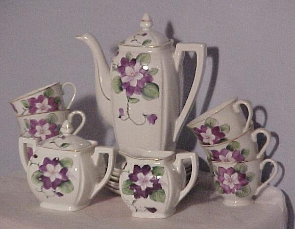 Child's Dishes, Teaset, 1950's, Beautiful Violets