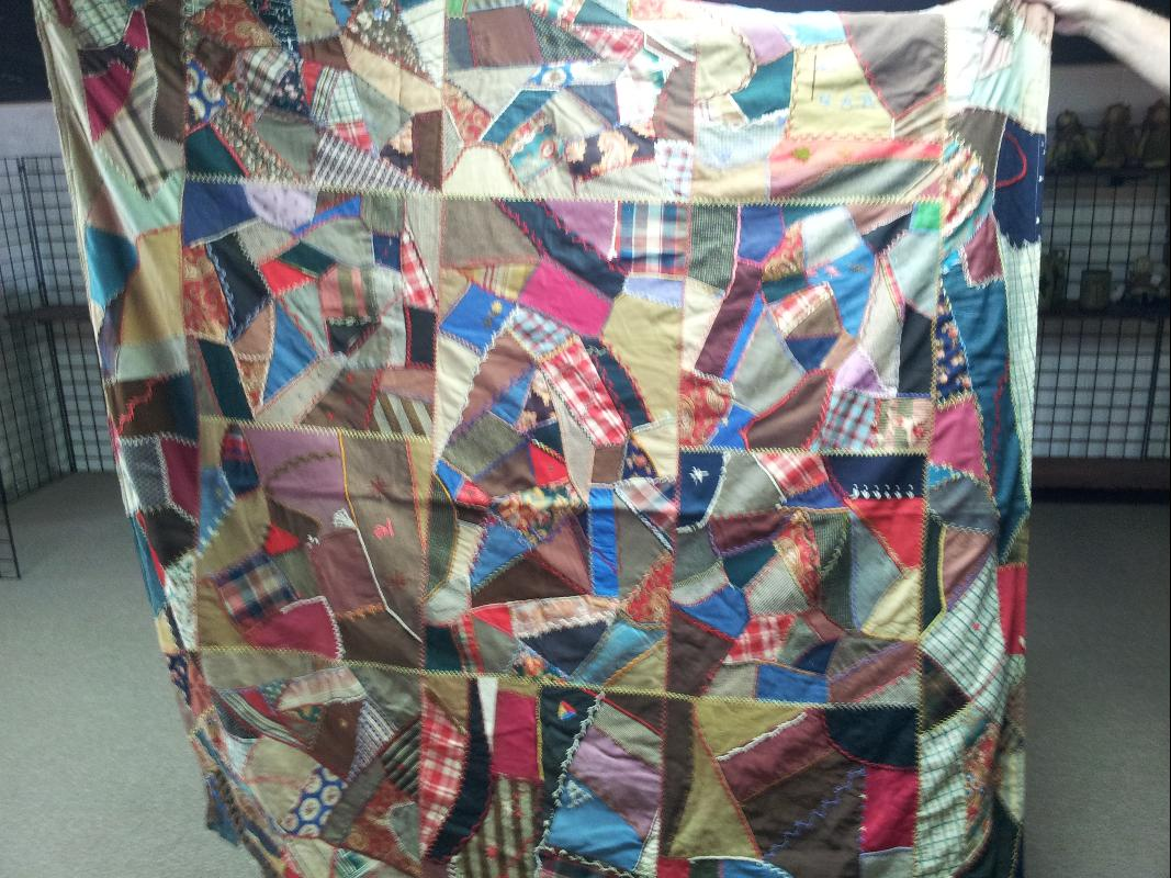 Post Civil War Confederate G.A.R. Flag Crazy Quilt