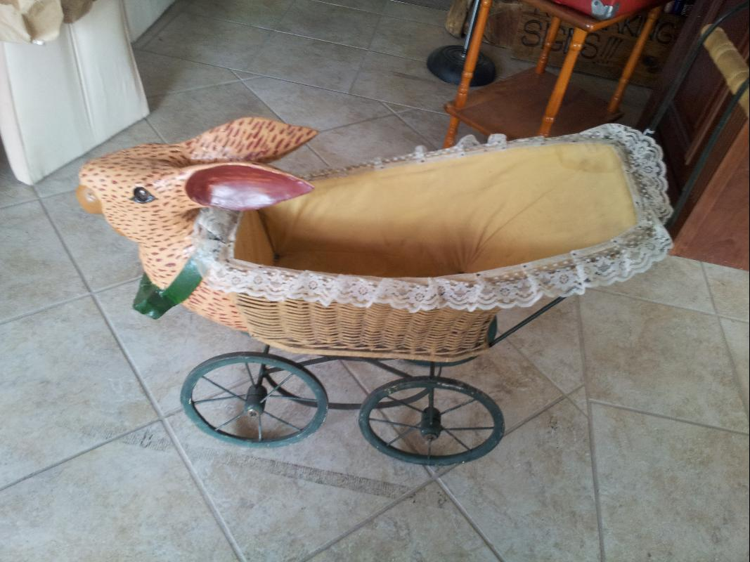 pre 1900's Handmade Rabbit Baby Carriage