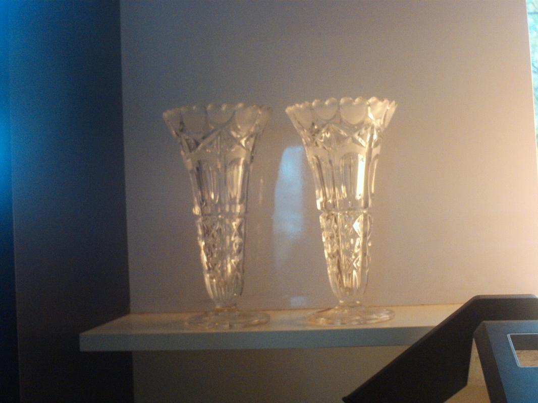 71/2 inch tall lead crystal bud vases