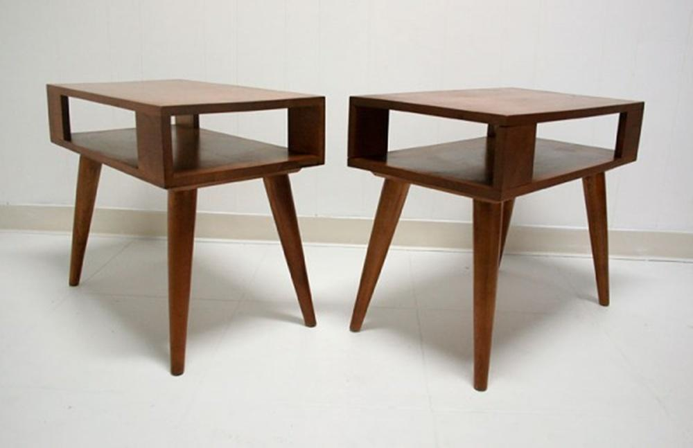 Pair 1950s 60s Vntage Mid Century Modern Conant Ball Style End Tables