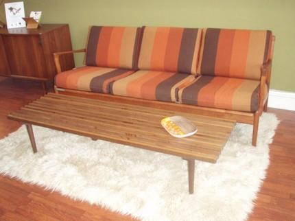 Retro Mid Century 1950 Style George Nelson Inspired Slat Bench Coffee