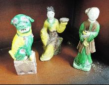 Chinese Ceramic Vintage Figurines, Mud Men ,Set of three