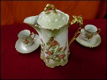 Chocolate Pot  Demitasse Cups  Saucers Floral