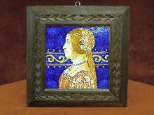 Italian  Royal Couple Framed Tiles Pair