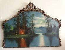 Gene Bachand Oil on Canvas Mountain Lake landscape