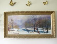 Marge Sparro Large  Oil on Canvas Winter Scene