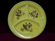 Vintage Feeding Plat   Yellow 1940-1949