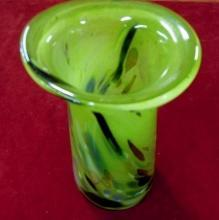 Glass Vase Lime Green Colorful Swirls
