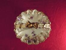 T & V Dish  1892 Floral and Gold
