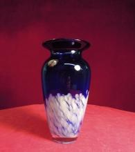 Cobalt Blue  Glass Vase  White Lace