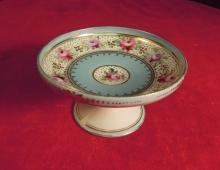 Vintage  Pedestal Dish Floral