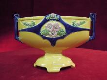 Czech Art Deco Vase Yellow Cobalt Blue