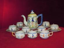 Quimper  Coffee Pot Set Collorful Collectible