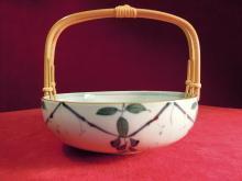 Vintage Oriental Bowl, Bamboo Handle
