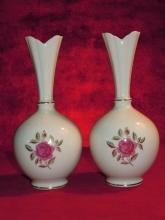 Lenox, Pair of Long neck Vases, Rose Motif White and Gold
