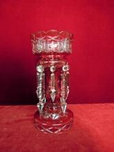 Vintage Mantle Luster, Clear to Red Cut Glass