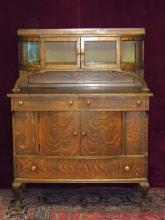 Side Board with Curved Glass and Interior Mirror