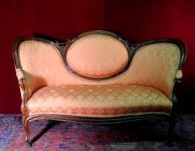 Love Seat  Sofa Queen Anne Coral