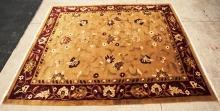 Oriental Area Rug Persian Design Tan with Floral Design and Fringe