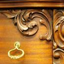Antique Chiffonier Swing  out Mirror Carved Floral Woodwork