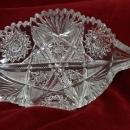 Brilliant Diamond Cut Glass Candy Dish Leaf Shaped Saw tooth Rim Hobstar Buzz Stars