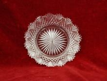 Brilliant Diamond Cut Glass Plate  Saw Tooth Scalloped Rim Fan Design
