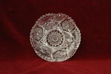 J D Bergen Glass Candy Dish Saw Tooth Rim Hobstar Design ABP