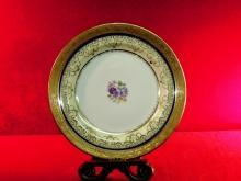 Theodore Haviland Limoges Plate Floral With Gold Foil Border