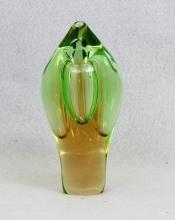 Art Glass Bud Vase Green to Amber Gem