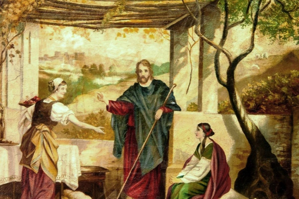 Heinrich Hofmann   Oi On Canvas Jesus with Mary and Martha  19th Century