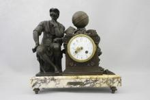 "French Figural Clock   ""Le' Penseur"" Works by F Marti"