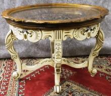 Carved Coffee Table Antique Ivory Finish with Glass Tray Top