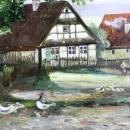 Oil Painting Charming European Cottages C. M. German 1914